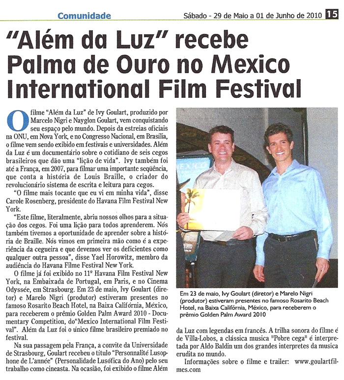 Brazilian Voice: Beyond the Light receives Golden Palm Award at the Mexico International Film Festival