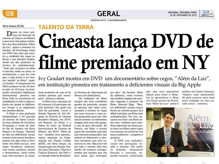 Jornal da Manhã: Filmmaker releases DVD of award-winning film in NY