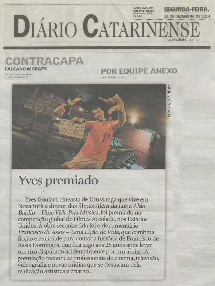 Diário Catarinense: Yves was awarded