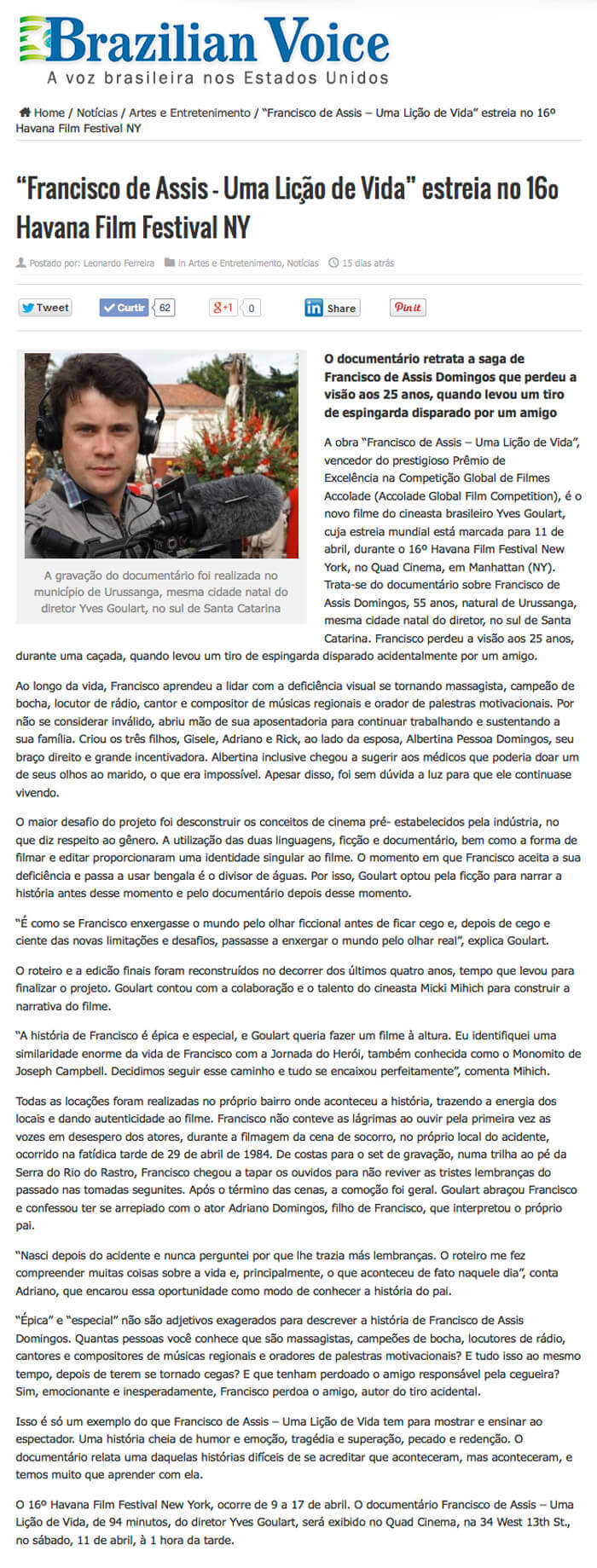 Brazilian Voice: Francisco de Assis - A Life Lesson premieres at the 16th Havana Film Festival NY
