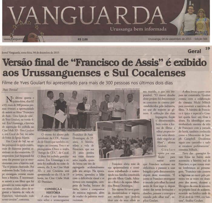 Jornal Vanguarda: Final version of <em>Francisco de Assis – A Life Lesson</em> is shown to Brazilians from Urussanga and Cocal do Sul