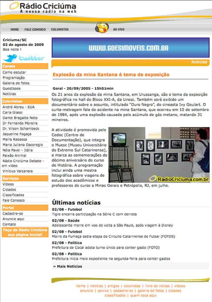 Rádio Criciúma: Santana mine explosion is theme of exhibition