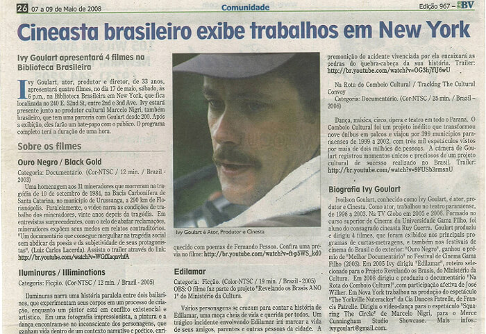 Brazilian Voice: Brazilian filmmaker shows his works in New York