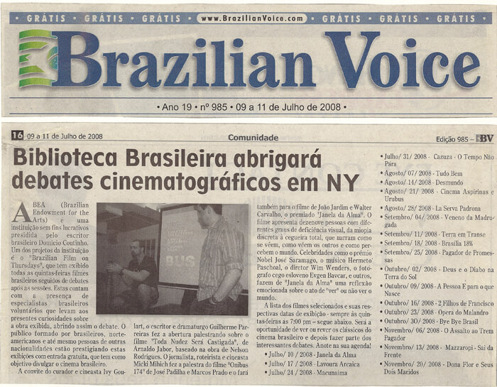 Brazilian Voice: Brazilian Library will host film panels in New York