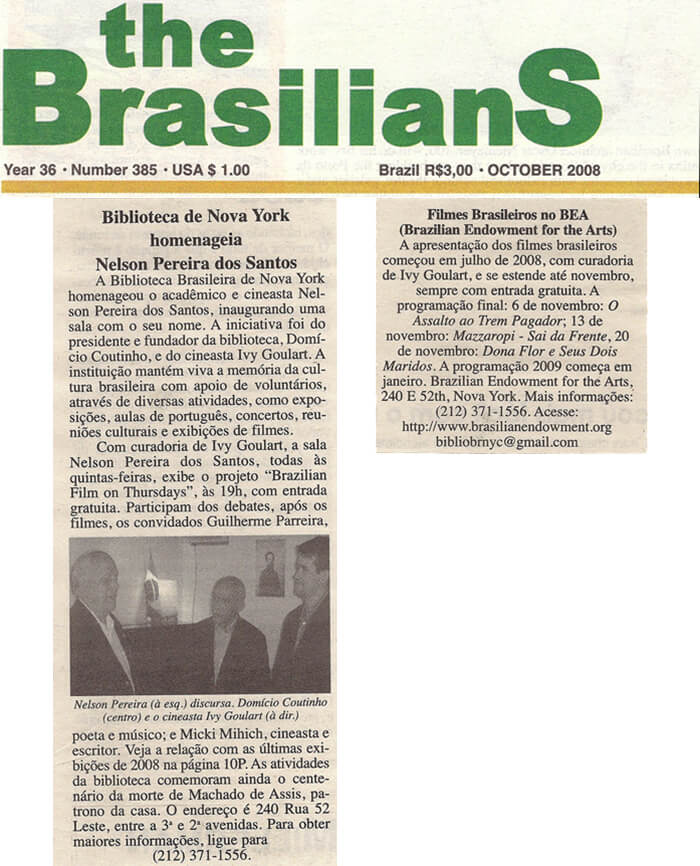The Brasilians: Brazilian Library in New York honors Nelson Pereira dos Santos