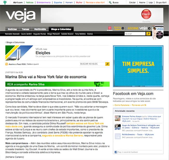 Veja: Marina Silva goes to New York to talk about economy