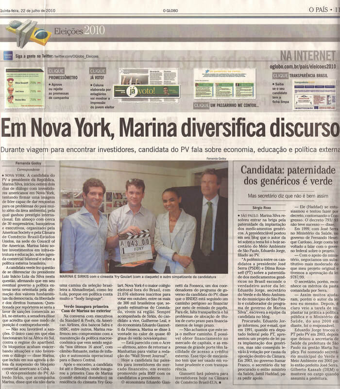 O Globo: In New York, Marina diversifies speech