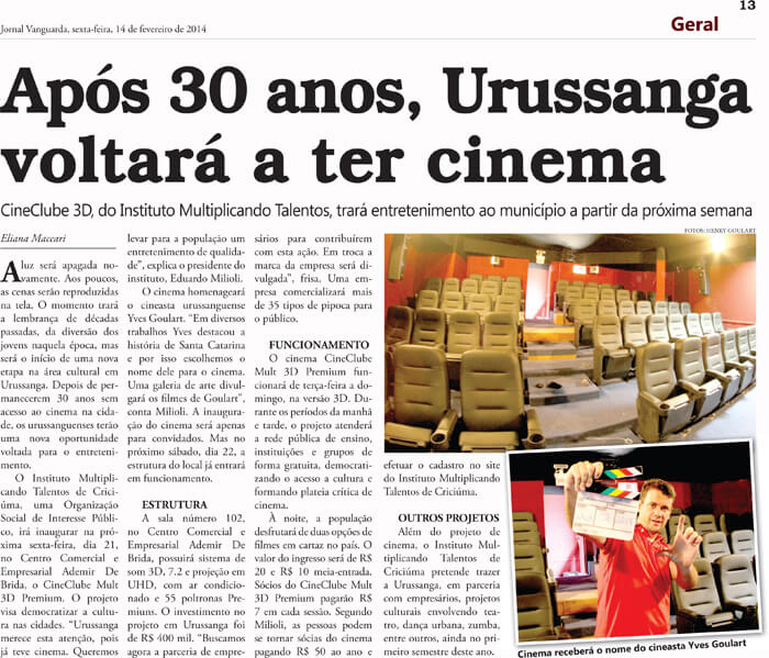 Jornal Vanguarda: After 30 years, Urussanga will have a movie theater again