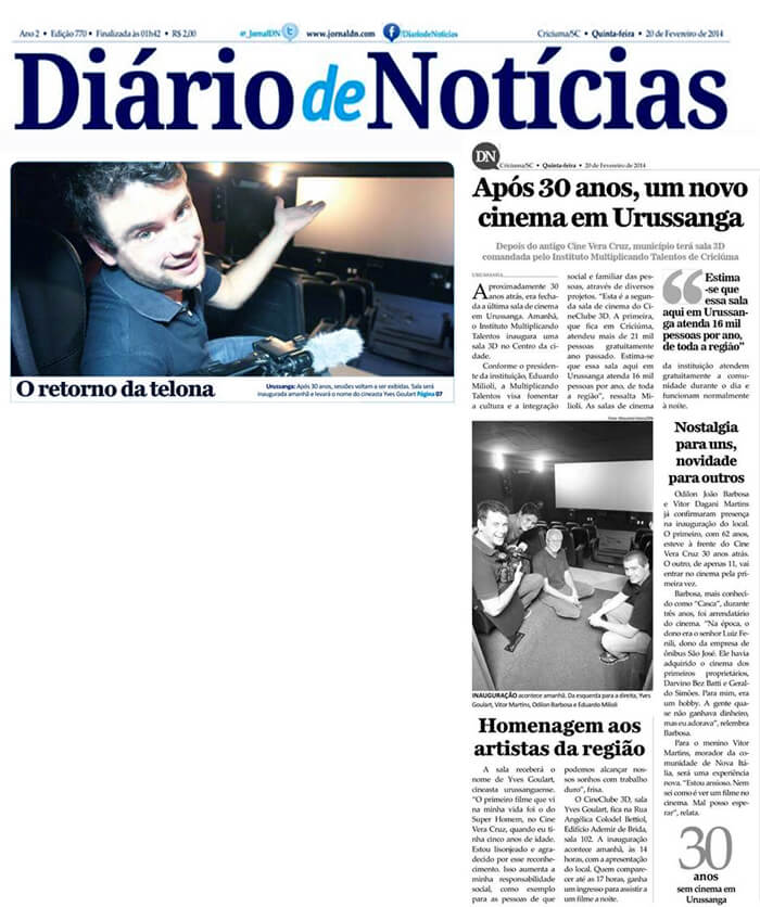 Diário de Notícias: After 30 years, a new movie theater in Urussanga