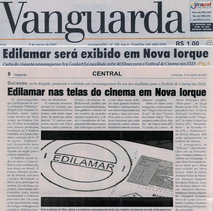 Jornal Vanguarda: Edilamar will screen in New York