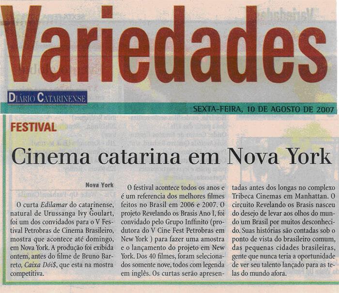 Diário Catarinense: Cinema from Santa Catarina in New York