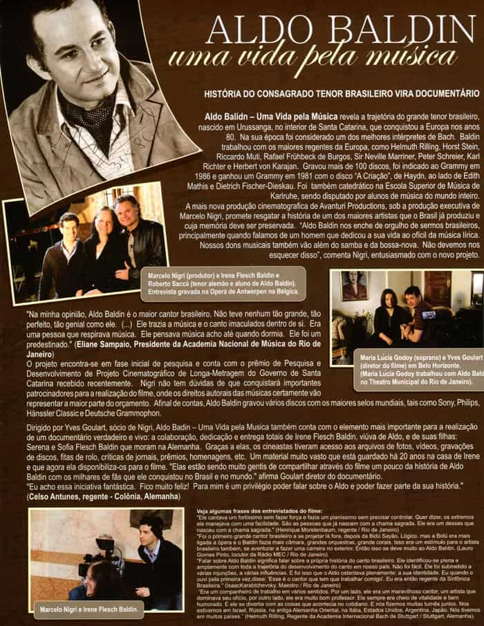 Revista So Festa USA: Story of acclaimed Brazilian Tenor becomes a documentary