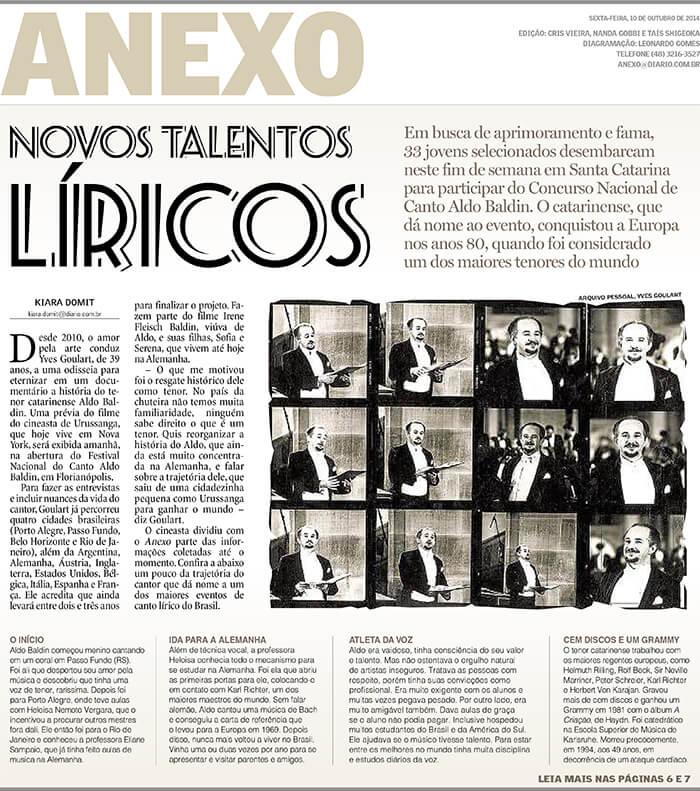 Diário Catarinense: New lyrical talents